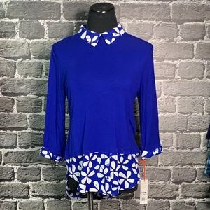 NWT ELLE Royal Blue Shirt Tail Gorgeous Career Top